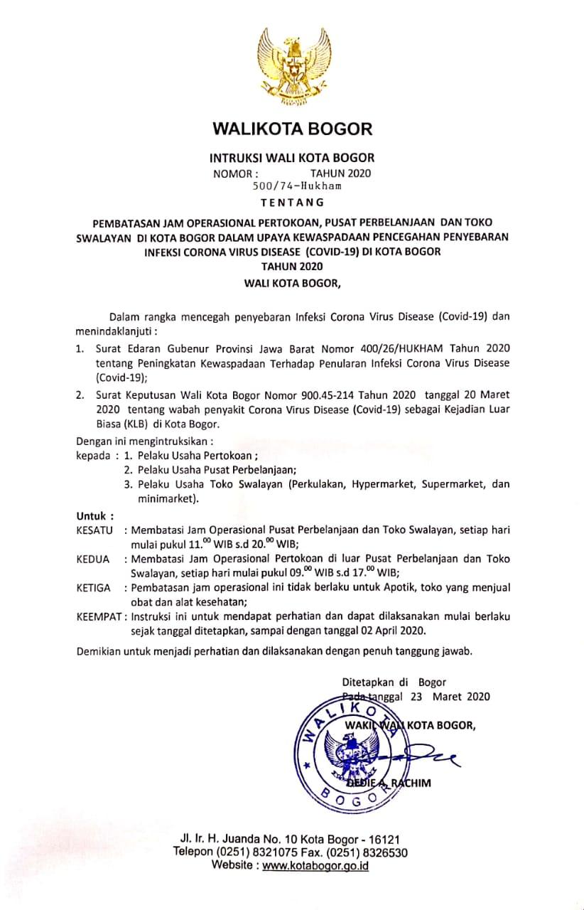 Surat Edaran Wakil Walikota Bogor Perpanjangan Masa Belajar di Rumah Bagi Peserta Didik Paud/TK/RA/SD/MI,SMP/MTS,SMA/MA dan Lembaga Pendidikan Non Formal